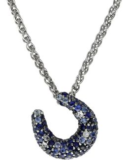 Sapphire, Sterling Silver Horseshoe Pendant Necklace