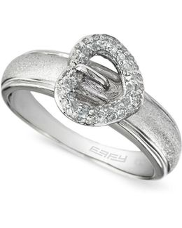 0.2 Tcw Diamond Heart, Sterling Silver Ring