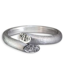 0.13 Tcw Diamond, Sterling Silver Overlap Ring
