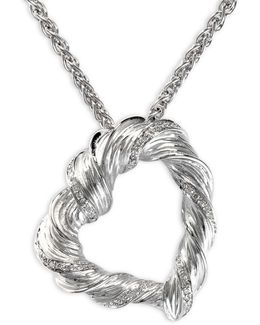 0.14 Tcw Diamond, Sterling Silver Pendant Necklace