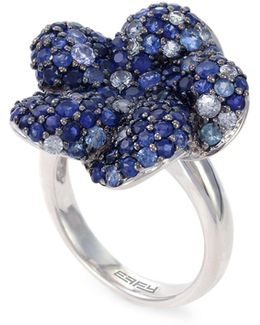 Sapphire, Sterling Silver Floral Ring