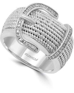 0.15 Tcw Diamond, Sterling Silver Belt Ring
