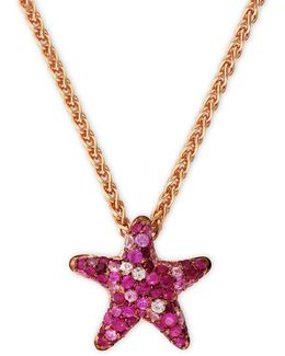 Sapphire, Rose Goldplated Sterling Silver Star Pendant Necklace