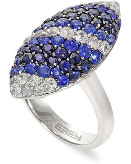 Sapphire, Sterling Silver Marquise Ring