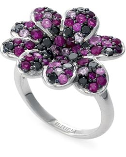 Ruby, Sterling Silver Floral Ring