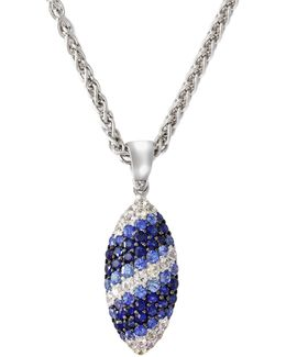 Sapphire, Sterling Silver Marquise Pendant Necklace