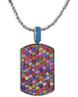 Multi-sapphire, Sterling Silver Pendant Necklace