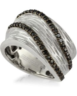 0.53 Tcw Diamond, Sterling Silver Wave Ring