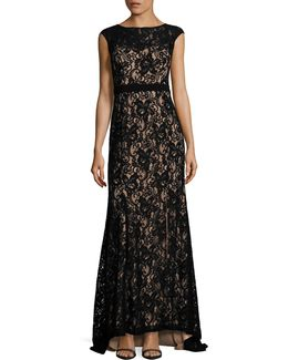 Lace Cap Sleeve Gown