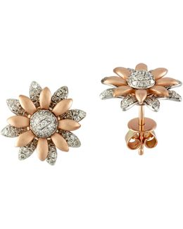 0.5 Tcw Diamond, 14k Two-tone Gold Petal Earrings