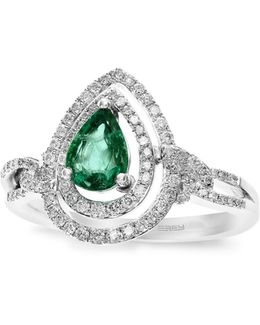 14k White Gold 0.32tcw Diamond And Emerald Ring