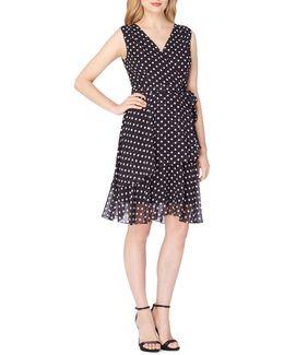 Dotted Chiffon Wrap Dress