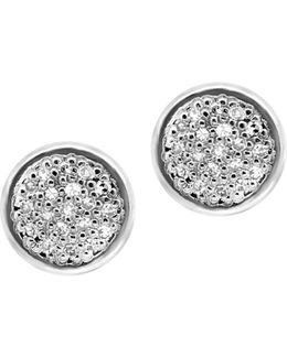 Diamond And Sterling Silver Earrings
