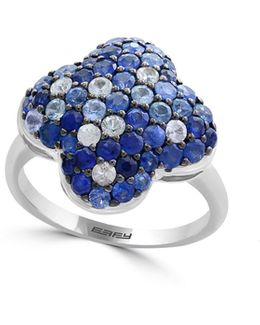 Sapphire And Sterling Silver Floral Ring