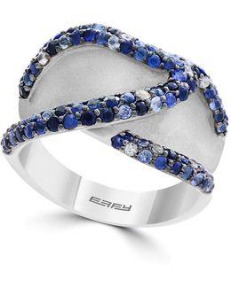 Sapphire And Sterling Silver Multi-row Ring