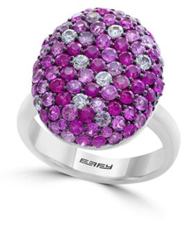 Multi Pink Sapphire And Sterling Silver Ring