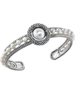 4mm, 10mm Round Freshwater Pearl And Sterling Silver Bangle