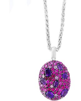 Ruby, Amethyst And Sterling Silver Necklace