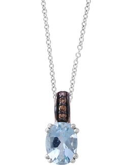 10k White Gold Aqua Marine Necklace