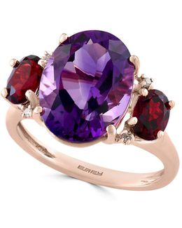 Amethyst, Garnet, Diamond And 14k Rose Gold Ring