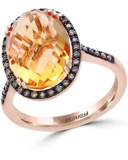 14k Rose Gold Citrine And 0.25tcw Diamond Ring
