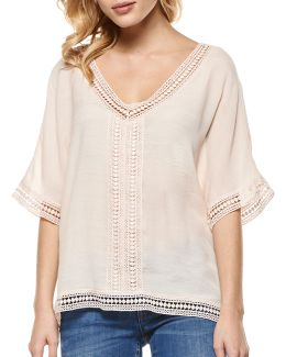 Crochet-accented V-neck Top