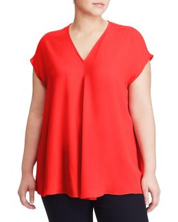 Plus Georgette Short-sleeve Top