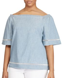 Plus Chambray Off-the-shoulder Top