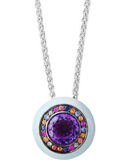 Amethyst Sterling Silver Studded Pendant Necklace