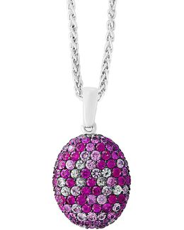 Pink Sapphire Sterling Silver Pave Pendant Necklace