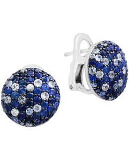 Sapphire Sterling Silver Pave Earrings