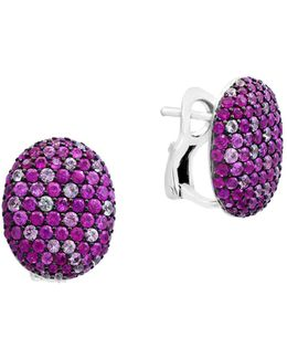 Pink Sapphire Sterling Silver Paved Earrings