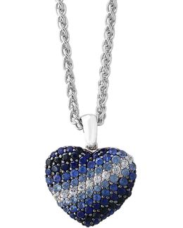 Sapphire Sterling Silver Heart Paved Pendant Necklace