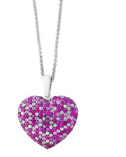 Pink Sapphire Sterling Silver Heart Paved Pendant Necklace