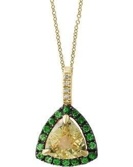 Diamond And Tsavorite 14k Gold Studded Pendant Necklace