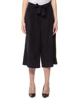 Self-sash Culotte Pants