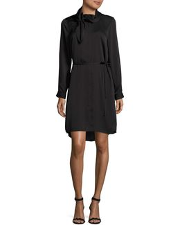 Belted Shirt Dress With Neck Tie