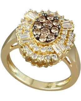 14k Yellow Gold 0.8tcw Diamond And Espresso Diamond Ring