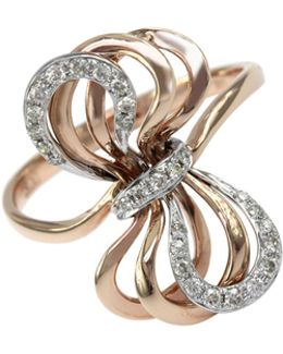 14k Rose And White Gold Bow Ring With 0.2 Tcw Diamonds