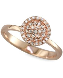 0.22 Tcw Diamond, 14k Rose Gold Circle Ring