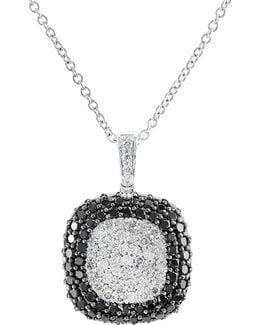 14k White Gold Black And White Diamond Pendant Necklace