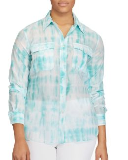 Plus Tie-dye Button-down Shirt