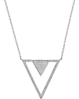 14k White Gold And 0.75tcw Diamond Triangle Pendant Necklace