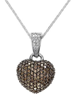 14k White Gold 0.94tcw Diamond And Espresso Diamond Heart Pendant Necklace