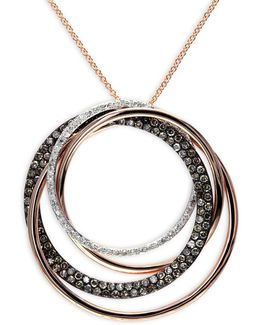 1.067 Tcw Two-tone Diamond, 14k Rose Gold Swirl Pendant Necklace