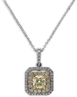 0.74 Tcw Two-tone Diamond, 14k Two-tone Gold Pendant Necklace