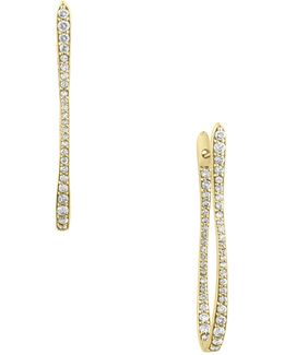 18k Yellow Gold 1tcw Diamond Hoop Earrings
