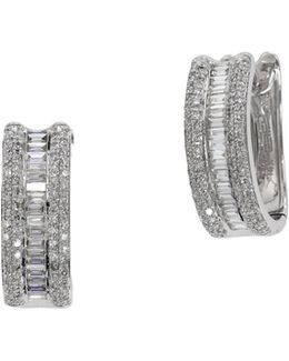 0.88 Tcw Diamond, 14k White Gold Hoop Earrings