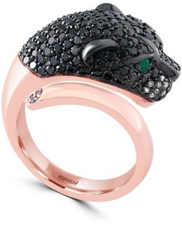 1.72 Tcw Two-tone Diamond, Emerald, 14k Rose Gold Panther Head Ring