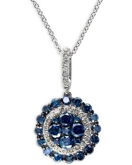 1.08 Tcw Diamond, 14k White Gold Disc Pendant Necklace